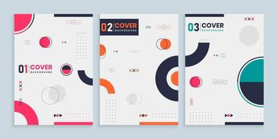 Memphis Style Cover Template Collection vector