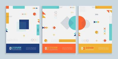 Colorful Memphis Cover Collection vector