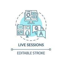 Live sessions concept icon vector