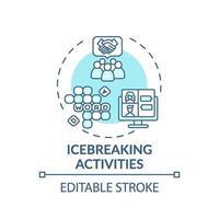 icono del concepto de actividades para romper el hielo vector