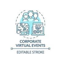 icono de concepto de eventos virtuales corporativos vector