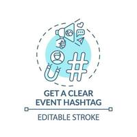 Getting clear event hashtag concept icon vector