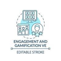 Compromiso y gamificación ve concepto icono vector