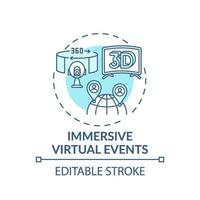 Ícono de concepto de eventos virtuales inmersivos vector