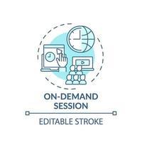 icono de concepto de sesión bajo demanda vector