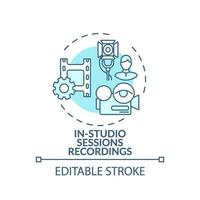 In-studio sessions recordings concept icon vector