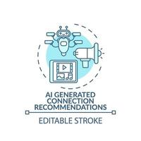 AI generated connection recommendations concept icon vector