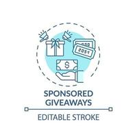 Sponsored giveaways concept icon vector