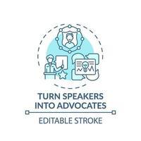 convirtiendo a los oradores en defensores icono del concepto vector
