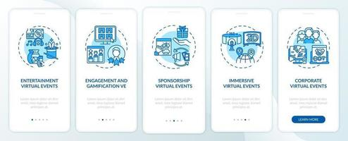 Remote events types onboarding mobile app page screen with concepts vector