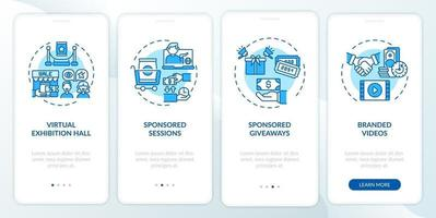 Sponsorship remote events ideas onboarding mobile app page screen with concepts vector