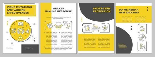 Virus mutations and vaccine effectiveness brochure template vector