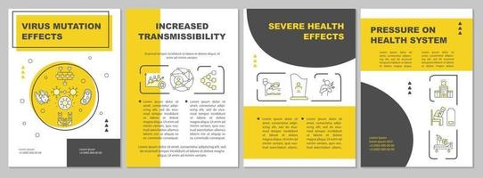 Virus mutation effect brochure template vector