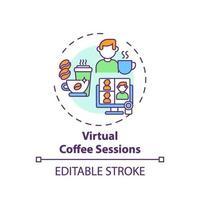 icono de concepto de sesiones de café virtual vector