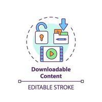 icono de concepto de contenido descargable vector