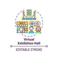 icono de concepto de sala de exposiciones virtual vector