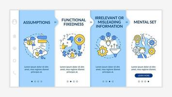 Problem solving issues onboarding vector template