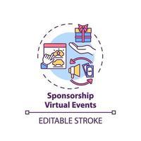 patrocinio, eventos virtuales, concepto, icono vector