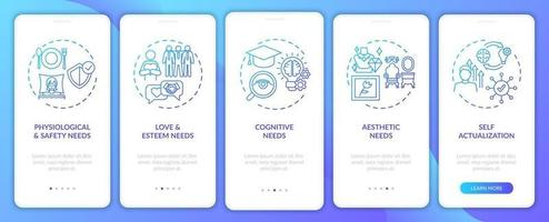 Human being needs navy onboarding mobile app page screen with concepts vector
