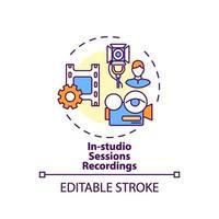 icono de concepto de grabaciones de sesiones en estudio vector