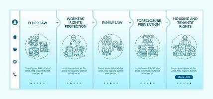 Legal services types onboarding vector template