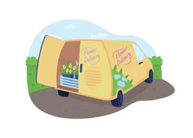 Flower delivery van 2D vector web banner, poster