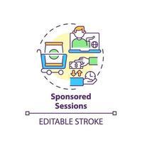 icono de concepto de sesiones patrocinadas vector