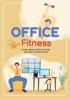 Exercise at workplace poster flat vector template