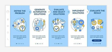 Problem solving process onboarding vector template