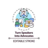 Turning speakers into advocates concept icon vector