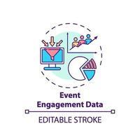icono de concepto de datos de participación de eventos vector