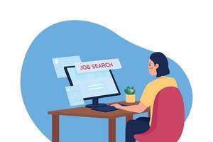 Ilustración de vector de concepto plano de búsqueda de trabajo en línea