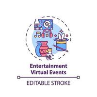 icono de concepto de eventos virtuales de entretenimiento vector