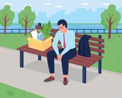 Ilustración de vector de color plano hombre deprimido despedido