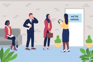 Employee recruitment process flat color vector illustration