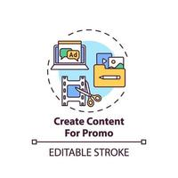 Creating content for promo concept icon vector