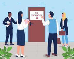 No vacancies sign flat color vector illustration