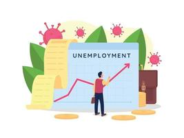 Ilustración de vector de concepto plano de tasa de desempleo creciente