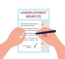 Ilustración de vector de concepto plano de documento de beneficios de desempleo