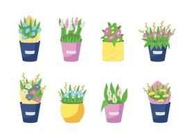 Bouquets in vases flat color vector object set