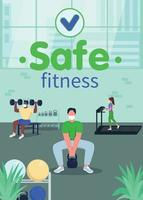 Safe fitness in gym poster flat vector template
