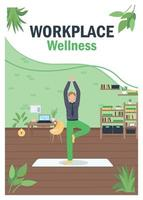 Workout at workplace poster flat vector template