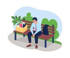 frustrado hombre despedido sentado en el banco 2d vector web banner, cartel