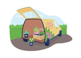 Flower delivery truck 2D vector web banner, poster