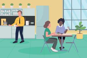 Office dinner break flat color vector illustration