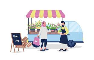 Muslim woman buying flowers from caucasian man flat color vector faceless characters