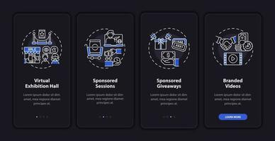 Sponsorship remote gathering onboarding mobile app page screen with concepts vector