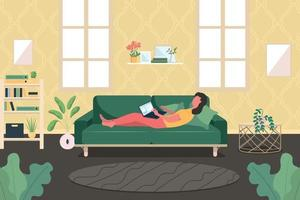Woman with laptop on couch flat color vector illustration