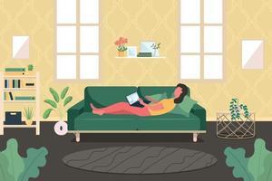 Mujer con computadora portátil en el sofá ilustración de vector de color plano