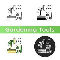 Garden hose with hose nozzles set icon vector